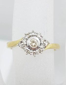 18ct Yellow Gold Diamond Round Cluster Ring