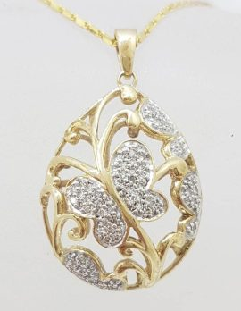 9ct Yellow Gold Large Ornate Butterfly Teardrop / Pear Shape Pendant set with Diamonds on 9ct Chain