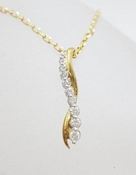 9ct Yellow Gold Diamond Twist Pendant on Gold Chain