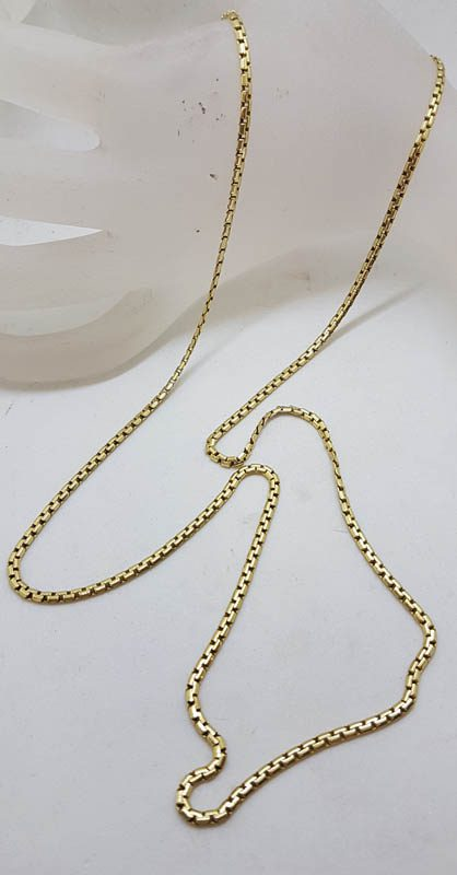 9ct Yellow Gold Long Box Link Necklace / Chain