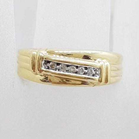 9ct Yellow Gold Five Diamond Gents Ring