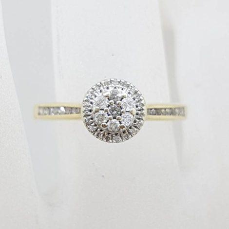9ct Yellow Gold Round Diamond Cluster Ring