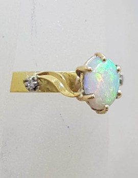 18ct Yellow Gold Solid Oval Opal with Two Diamond Ring
