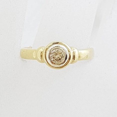 9ct Yellow Gold Round Bezel Set Diamond Ring
