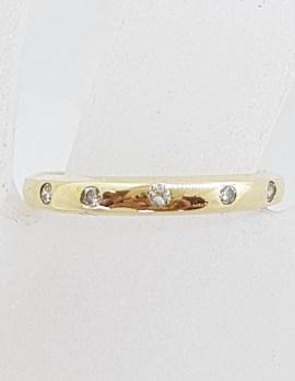 9ct Yellow Gold Inset Diamond Wedding Band / Ring