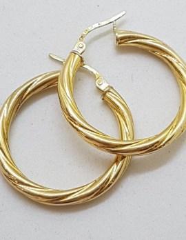9ct Yellow Gold Twist Pattern Hoop Earrings