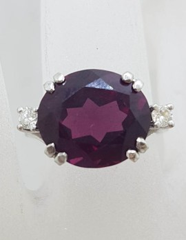 * SOLD * 9ct White Gold Large Oval Rhodolite Garnet with 2 Diamonds Ring