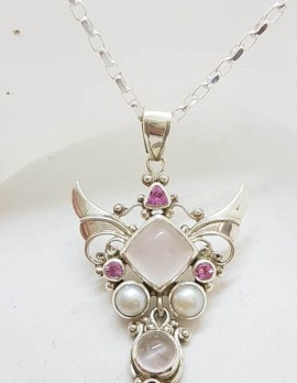 Sterling Silver Large Angel Wings Pendant with Rose Quartz and Pearl on Silver Chain