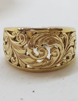 9ct Yellow Gold Leaf Floral Design Wide Band Ring