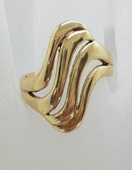 9ct Yellow Gold Wide Wave Design / Curved Ring