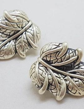 Sterling Silver Large Leaf Shape Stud Earrings