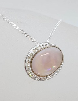 Sterling Silver Oval Pink Mother of Pearl with Cubic Zirconia Pendant on Silver Chain