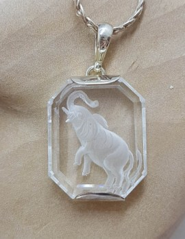 Sterling Silver Carved Clear Crystal Quartz Elephant Pendant on Silver Chain - Cameo