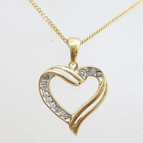 9ct Yellow Gold Diamond Heart Pendant on Gold Chain