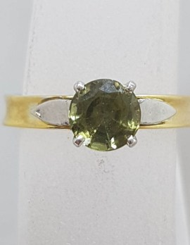 18ct Yellow Gold Party Sapphire Tall Set Ring - Antique / Vintage