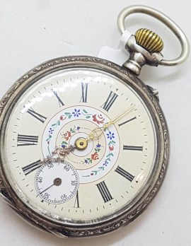 Sterling Silver Beautiful Ornate Fob Watch / Pocket Watch with Floral Motif - Antique / Vintage