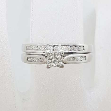 9ct White Gold Channel Set and Claw Set Diamond Engagement Ring and Wedding Ring Set - Square Setting