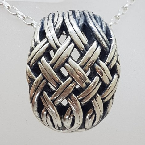 Sterling Silver Large Weaved / Plaited Design Pendant on Silver Chain