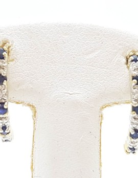 9ct Yellow Gold Natural Sapphire and Diamond Half Hoop Earrings