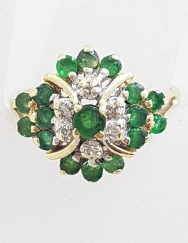 9ct Yellow Gold Natural Emerald and Diamond Cluster Ring - Antique / Vintage
