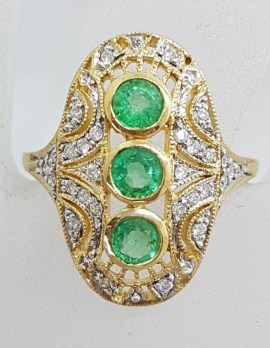9ct Yellow Gold Large Oval Natural Emerald and Diamond Ring - Art Deco Style - Ornate