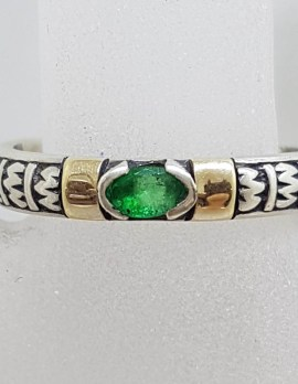 Sterling Silver Oval Emerald with Gold Ornate Band Ring - Stackable