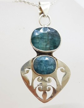 Sterling Silver Ornate Filigree Design Emerald Pendant on Chain