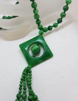 Burmese Jade Bead Necklace with Square Tassel Drop