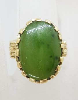 9ct Yellow Gold Large Oval Shaped Green Stone / Jade Ring with Basket Design Setting – Antique / Vintage