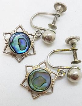 Sterling Silver Paua Shell Star Drop Screw-On Earrings - Vintage