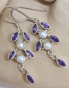 Sterling Silver Amethyst & Pearl Leaf Long Drop Earrings