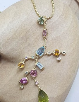 """9ct Yellow Gold Unique Large and Long Multi-Coloured Gemstones Pendant on Gold Chain - """" Southern Cross Style """" - Pink Tourmaline, Topaz, Peridot, Citrine and Diamond"""