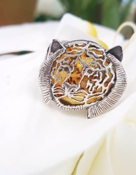 Sterling Silver Natural Baltic Amber Tiger Head / Big Cat Ring