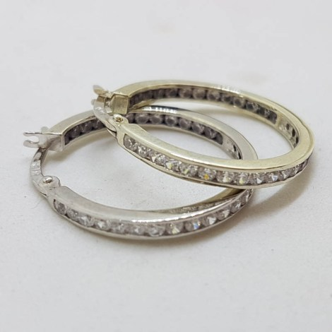 9ct White Gold Channel Set Cubic Zirconia Hoop Earrings