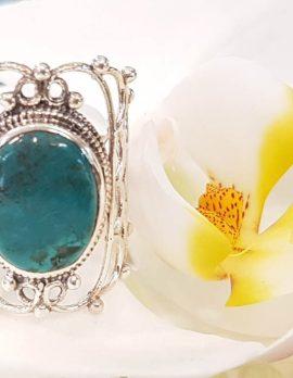 Sterling Silver Long Ornate Filigree Design Natural Turquoise Ring
