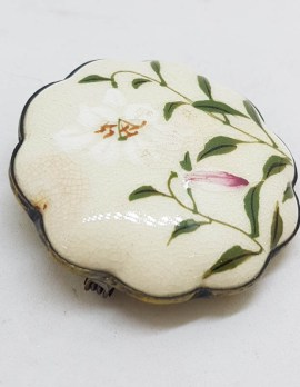 Antique Japanese Satsuma Brooch - Round Flower Shape - Floral Scenery