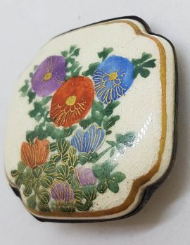 Antique Japanese Satsuma Brooch - Square - Floral Scenery