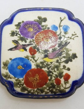 Antique Japanese Satsuma Brooch - Square - Floral and Bird Scenery