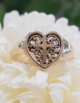 9ct Yellow Gold Ornate Filigree Heart with Cross Ring - Antique / Vintage