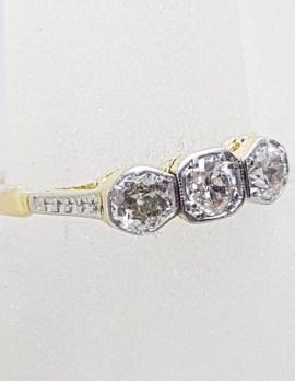 18ct Yellow Gold Diamond Trilogy Ring - Antique / Vintage