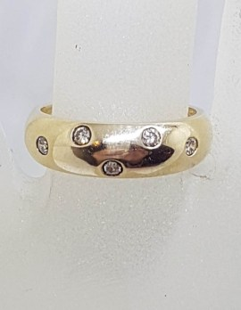 9ct Yellow Gold Wide Inset Diamond Band Ring