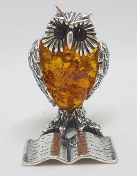 Owl Standing with Book – Solid Sterling Silver Natural Baltic Amber Animal Figurine / Statue / Sculpture