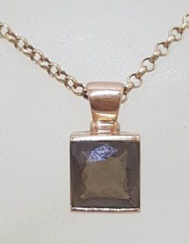 9ct Rose Gold Square Smokey Quartz Pendant on Gold Chain
