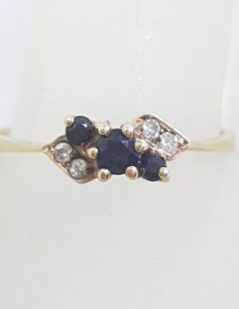 9ct Yellow Gold Natural Sapphire and Diamond Ring - Vintage