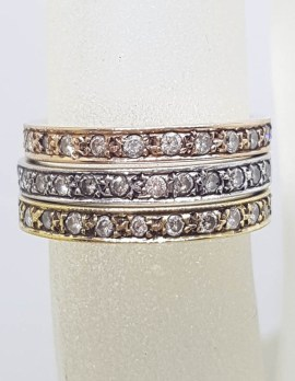 9ct Yellow Gold, Rose Gold and White Gold - Three Tone - Stackable Set of Three Rings - Wedding Ring / Eternity Ring / Dress Ring / Band