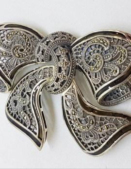 Sterling Silver Large Green Enamel and Marcasite Ornate Design Brooch