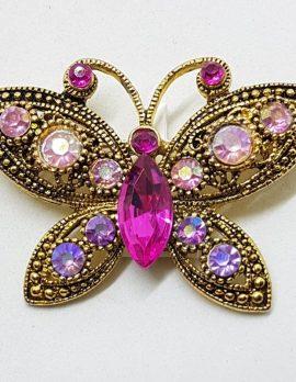 Plated Pink Rhinestone Butterfly Brooch – Vintage Costume Jewellery