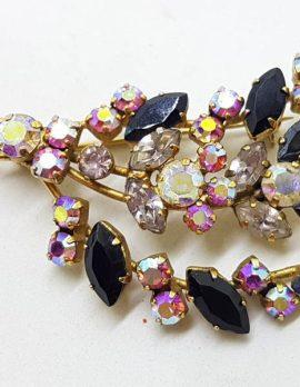 Plated Large Rhinestone, Pink, Black and Aurora Borealis Floral Spray Brooch – Vintage Costume Jewellery