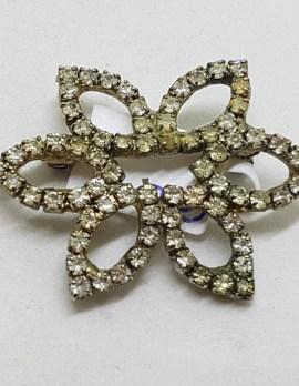 Plated Rhinestone ' Flower ' Brooch – Vintage Costume Jewellery