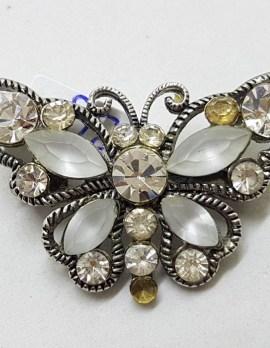Plated Rhinestone Butterfly Brooch – Vintage Costume Jewellery